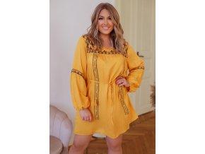 Horčičně-žluté šaty s výšivkou (Veľkosť XXXL)