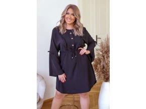 Černé krátké šaty s dlouhým rukávem (Veľkosť XL/XXL)