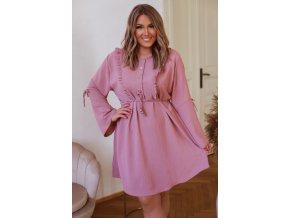 Staro růžové krátké šaty s dlouhým rukávem (Veľkosť XL/XXL)