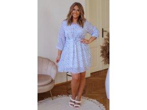Bílé šaty se světle modrým vzorem (Veľkosť XXXXL)