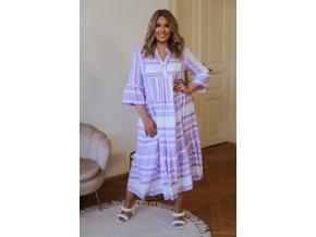 Volné vzorované šaty s výstřihem do V - bílo-fialová (Veľkosť L/XL)