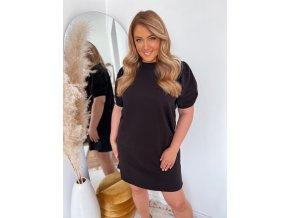 Krátké bavlněné šaty s puffovými rukávy - černá (Veľkosť XXXL)