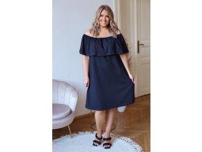 Tmavě modré šaty s odhalenými rameny (Veľkosť XXXXL)
