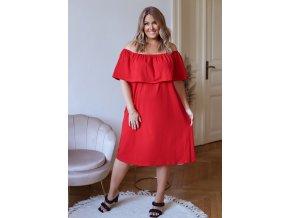 Červené šaty s odhalenými rameny (Veľkosť XXXXL)