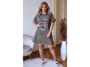 Oversize tričkové šaty s potiskem tygra - khaki (Veľkosť XL/XXL)