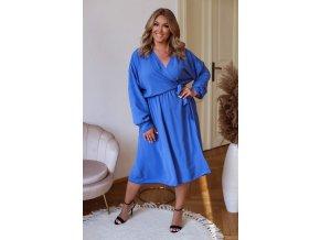 Modré šaty se zavinovacím efektem (Veľkosť XL/XXL)