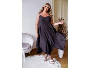 Asymetrické šaty na ramínka - černá (Veľkosť XL/XXL)