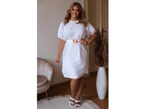 Krátké tričkové šaty s puffovými rukávy a opaskem - bílá (Veľkosť XXXL)