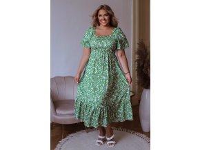 Zelené květinové šaty s krátkým rukávem (Veľkosť L/XL)