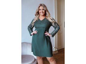 Elegantní zelené šaty s krajkou (Veľkosť XXXXL)