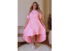 Asymetrické světle růžové tričkové šaty (Veľkosť L/XL)