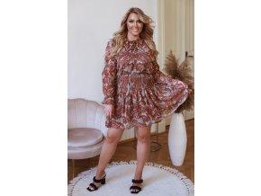 Hnědé vzorované krátké šaty s dlouhým rukávem (Veľkosť XL)
