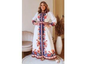 Dlouhé bílé košilové šaty s květinovým vzorem a páskem (Veľkosť L/XL)