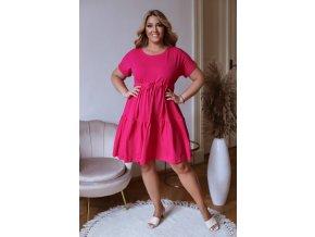 Prošívané šaty s krátkým rukávem a šňůrkou v pase - fuchsiová (Veľkosť L/XL)