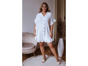 Krátká košile s řasením v bílé (Veľkosť L/XL)