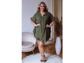 Krátká košile s řasením v khaki zelené (Veľkosť L/XL)