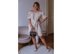 Krátké šaty se spuštěnými rameny a páskem - béžová (Veľkosť L/XL)