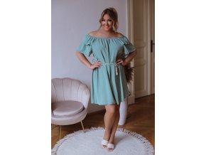 Krátké šaty se spuštěnými rameny a páskem - zelená (Veľkosť L/XL)