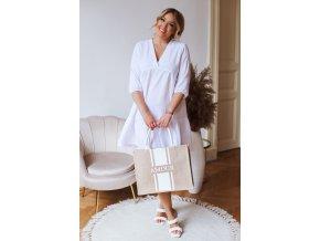 Bílé krátké šaty s výstřihem do V (Veľkosť XXXXL)