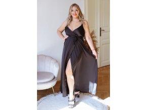 Dlouhé šaty na ramínka s efektem saténu - černá (Veľkosť L/XL)