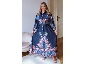 Dlouhé tmavě modré košilové šaty s květinovým vzorem a páskem (Veľkosť L/XL)