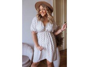 Krátké šaty s krátkým rukávem a třásněmi (Veľkosť L/XL)