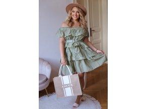 Krátké volánové šaty v zelené (Veľkosť L)