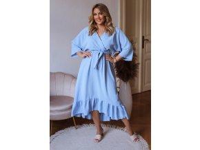 Světle modré šaty v midi délce (Veľkosť L/XL)