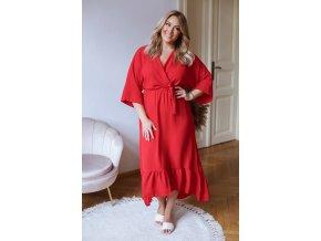 Červené šaty v midi délce (Veľkosť L/XL)