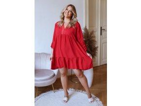 Krátké volné šaty s tříčtvrtečním rukávem a krajkou - červená (Veľkosť L/XL)