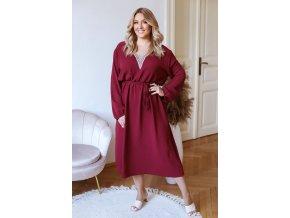 Dlouhé šaty s páskem a dlouhým rukávem - bordó (Veľkosť L/XL)