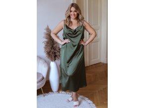 Khaki šaty na ramínka se saténovým efektem a knoflíky (Veľkosť XL/XXL)