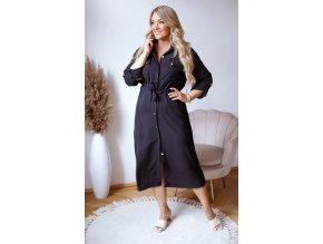 Černé košilové šaty pod kolena (Veľkosť L)