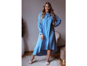 Dlouhé volné světlemodré šaty s mašlí ke krku (Veľkosť L/XL)
