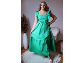 Zelené šaty se zavazováním na zádech (Veľkosť L/XL)