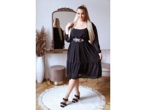 Volné černé šaty v midi délce s dlouhým rukávem (Veľkosť XL/XXL)