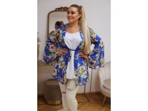Krátké květinové kimono - modrá (Veľkosť L/XL)