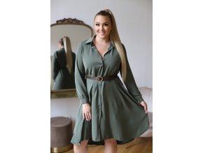 Košilové šaty v zelené barvě (Veľkosť L/XL)
