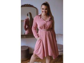 Košilové šaty v staro růžové barvě (Veľkosť L/XL)