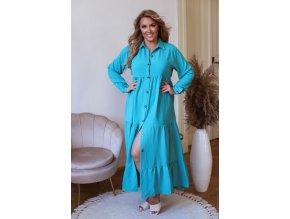 Dlouhé košilové šaty s dlouhým rukávem - tyrkysová (Veľkosť M/L)