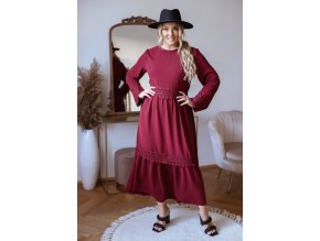 Dlouhé elegantní šaty s krajkovým páskem v bordó (Veľkosť L/XL)