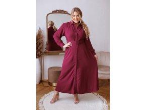 Dlouhé elegantní košilové šaty se strukturovanou látkou a opaskem - bordovo fialová (Veľkosť L/XL)