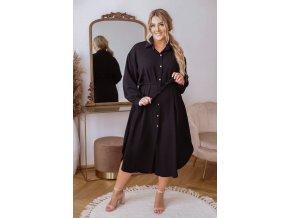 Košilové šaty v midi délce s opaskem - černá (Veľkosť XL/XXL)