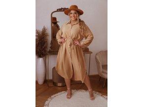 Košilové šaty v midi délce s opaskem - světle hnědá (Veľkosť XL/XXL)