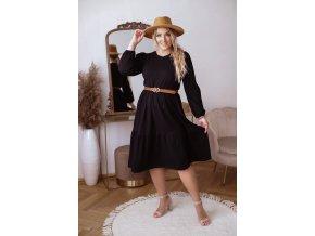 Černé prošívané šaty s dlouhým rukávem (Veľkosť XL)