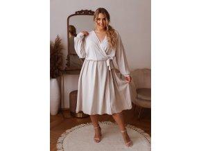 Krémové šaty se zavinovacím efektem (Veľkosť XL/XXL)