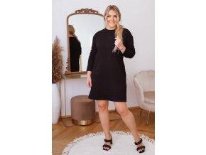 Bavlněné tričkové šaty s dlouhým rukávem - černá (Veľkosť XXXL)