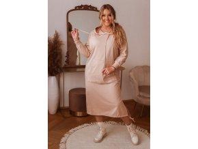 Dlouhé mikinové šaty v béžové (Veľkosť Univerzální)