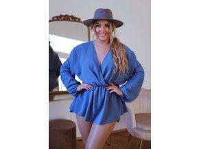 Top v modré barvě s hlubokým výstřihem (Veľkosť XL/XXL)