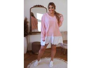 Růžová tunika s bílým košilovým lemem (Veľkosť XL/XXL)